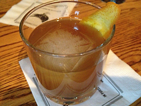 Eagle Rare 10-year bourbon is mixed with house-made bitters and Demerara syrup, hand-drawn and served over a two-inch ice block. We noticed hints of orange, cherry, and spice, probably because the menu also listed each note. Regardless, this is refreshing and sturdy. A new take on an old classic.