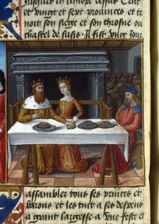 Feast of Esther, Fleur des histoires (BNF Fr. 55, fol. 129v), second half of the 15th century