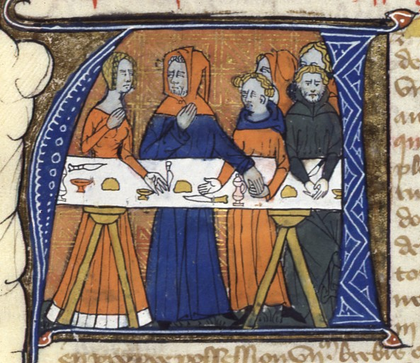 Feast of Job, Bible historiale (BNF Fr. 164), fourth quarter of the 14th century