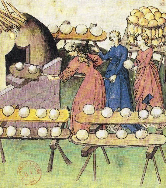 The bread oven - Tacuinum Sanitatis- fifteenth century, Paris, BnF, Manuscripts Department, Latin 9333, fol.61v Detail